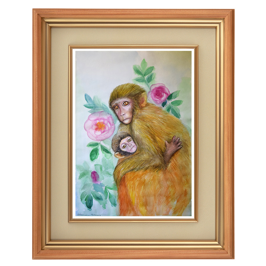 Mother-monkey-baby-and-roses-8