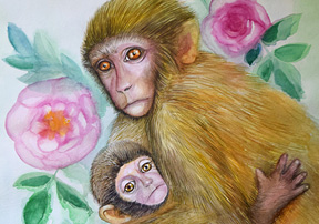 Mother-monkey-baby-and-roses-small