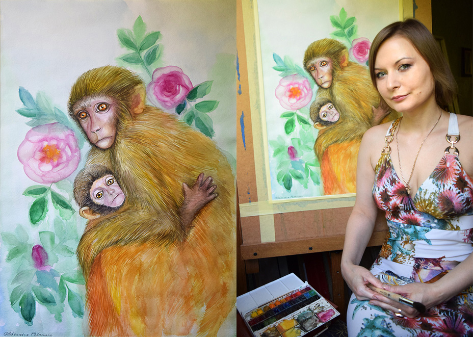 Mother-monkey-baby-and-roses