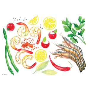 Shrimps,-red-caviar,-lemons,-peppers,asparagus-&-tomatoes-2