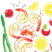 Shrimps,-red-caviar,-lemons,-peppers,asparagus-&-tomatoes-5